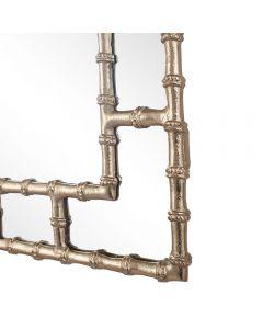 Gold Metal Bamboo Rectangular Wall Mirror