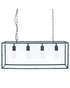 Llewellyn Matt Black Metal & Glass Four Bulb Pendant