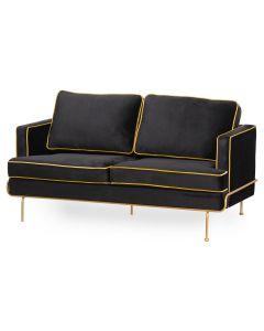Orla Black Velvet 2 Seater Sofa