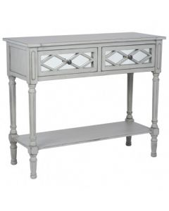Dove Grey Mirrored Pine Wood Console Table