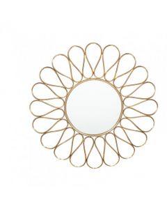 Antique Gold Metal Petal Design Round Wall Mirror