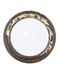 Antique Wood Round Wall Mirror