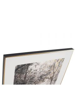 Mono Sunlit Copse Print with Gold Detail and Black Frame
