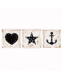 S/3 Natural Wash Fir Wood Square LED Wall Plaques