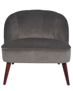 Dove Grey Velvet Cocktail Chair with Walnut Effect Legs