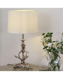Antique Silver Metal Antler Table Lamp