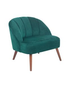 Forest Green Velvet Cocktail Chair with Walnut Effect Legs
