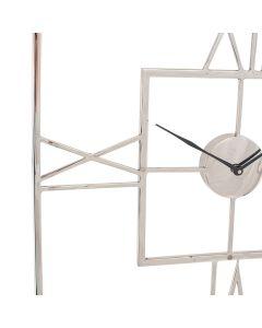 Silver Metal Square Wall Clock