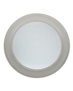 Washed Grey Wood Round Wall Mirror Large