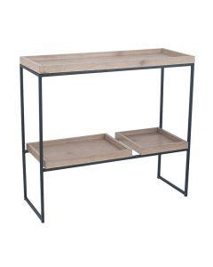 Gallery Natural Wood Veneer & Black Metal 2 Shelf Unit
