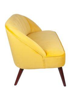 Ochre Velvet Sofa with Walnut Effect Legs