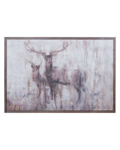 Stags In The Wilderness On Cement Board With Wooden Frame