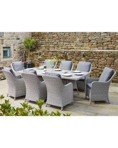 Antigua 8 Seater Oblong Dining Set Stone Grey