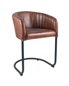 Vintage Brown Leather & Iron Curved Back Chair