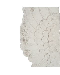 Antique White Polyresin Angel Wings Wall Art