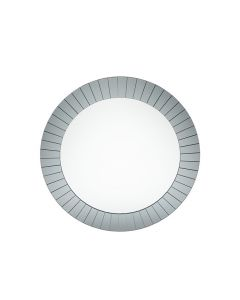 Smoked Grey Glass Art Deco Round Wall Mirror