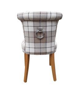 Castle Dining Chair  (Clova Brown Check Fabric, Natural Oak Leg)