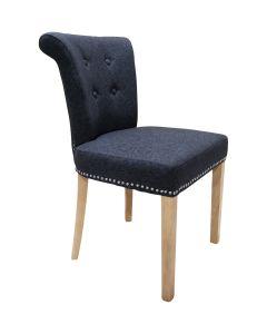 Castle Dining Chair (Schiehallion Dark Grey Plain Fabric,  Natural Oak Leg)