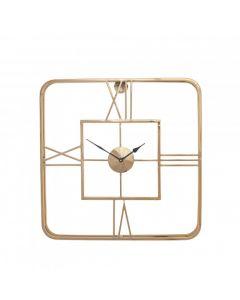 Gold Metal Square Wall Clock