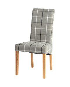 Vestry Dining Chair (Moy Grey Check Fabric,  Natural Oak Leg)