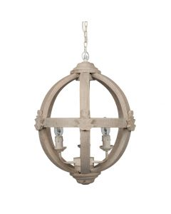 Small Round Wooden Electrified Pendant