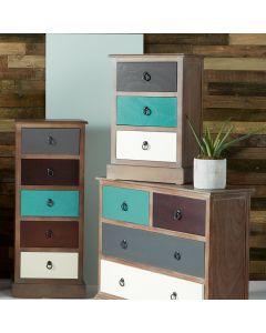Pine Wood Multicoloured 3 Drawer Unit