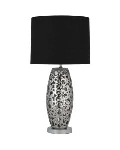 Metallic Silver Ceramic Cut Out Tall Table Lamp