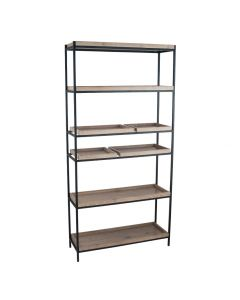 Natural Wood Veneer and Black Metal 5 Shelf Unit