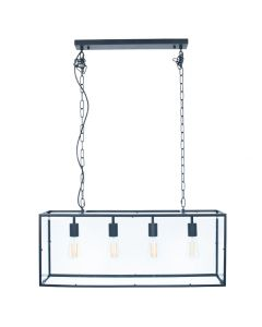 Matt Black Metal & Glass Four Bulb Pendant