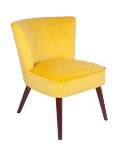 Ochre Velvet Retro Cocktail Chair with Walnut Effect Legs