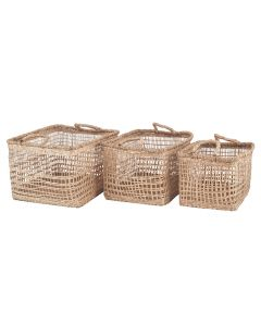 S/3 Open Weave Seagrass Oblong Handled Baskets