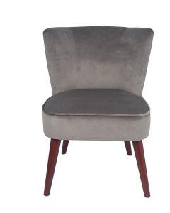 Dove Grey Velvet Retro Cocktail Chair with Walnut Effect Legs