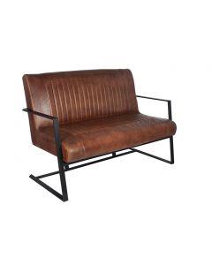 Lorenzo Vintage Brown Leather & Iron Sofa