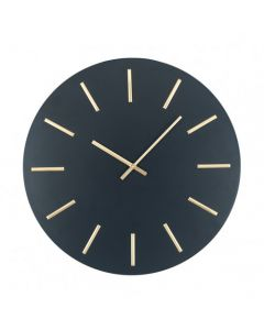 Matt Black and Gold Detail Round Metal Wall Clock
