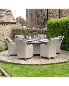 Stone Grey Antigua 6 Seater Rd Fire Pit Dining Set