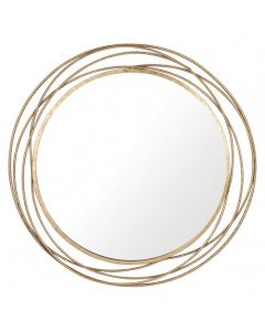 Antique Gold Metal Round Wall Mirror