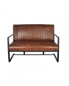 Vintage Brown Leather & Iron Sofa