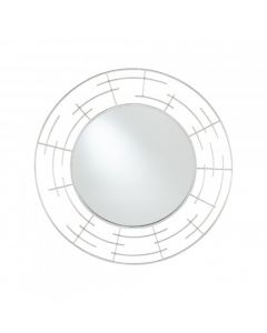 Silver Metal Frame Round Wall Mirror