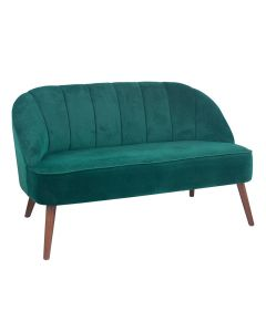 Forest Green Velvet Sofa with Walnut Effect Legs
