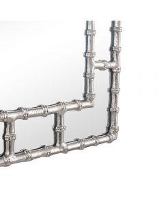 Silver Metal Bamboo Rectangular Wall Mirror