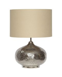Nickel Punched Metal Table Lamp