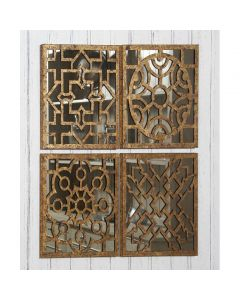 S/4 Square Antique Gold Metal Mirrored Wall Art