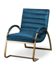 Navy And Brass Ribbed Ark Chair
