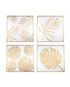 Set of 4 Gold Metal & Glass Leaf Design Wall Art